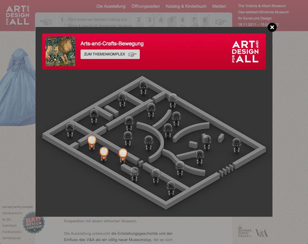 V&A – Art an Design for All / Interactive map.